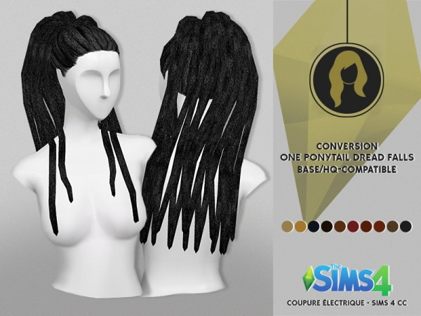 Coupure Electrique: One Ponytail dread falls hair for Sims 4