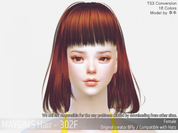 MAY Sims: MAY 302F hair retextured for Sims 4