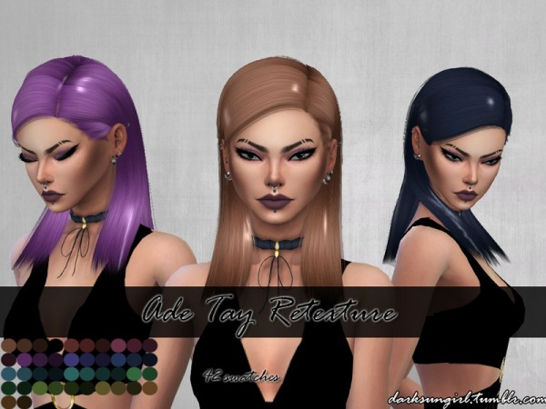 The Sims Resource: Ade Darma`s Tay hair retextured by DarksunGirl for Sims 4