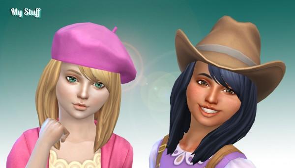 Mystufforigin: Ellie Hair retextured for girls for Sims 4