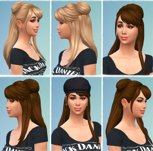 Birksches sims blog: Halfup Bowling Hair retextured for Sims 4