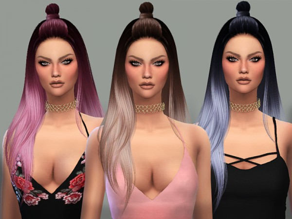 The Sims Resource: Nightcrawler`s Luna hair retextured for Sims 4