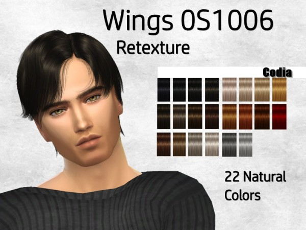 The Sims Resource: WINGS OS1006 hair retextured by Codia for Sims 4