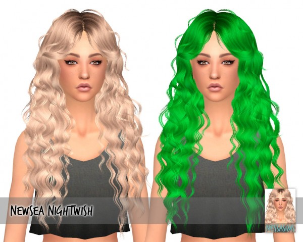 Nessa sims: Newsea`s Nightwish hair retextured for Sims 4