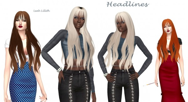 Sims Fun Stuff: Leah Lillith`s Headlines hair retextured for Sims 4