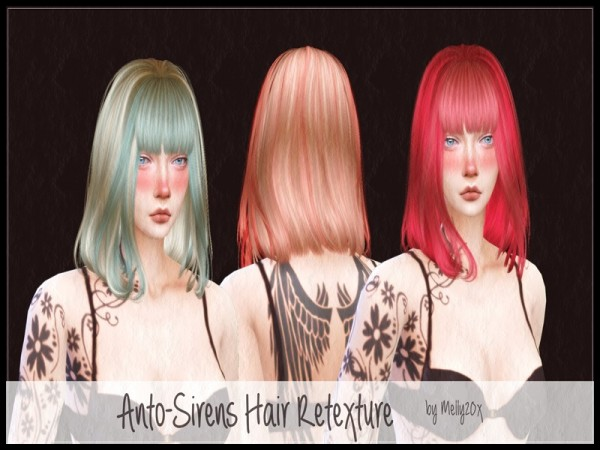 The Sims Resource: Anto`s Sirens hair retextured by melly20x for Sims 4