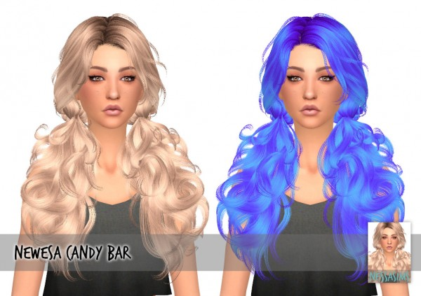 Nessa sims: Newsea`s Candy Bar hair retextured for Sims 4