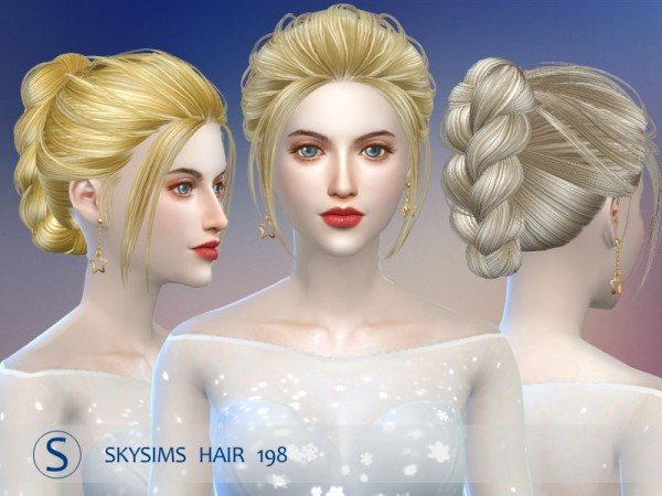 Butterflysims: Hair 198 by Skysims for Sims 4