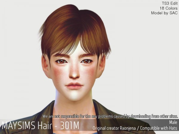 MAY Sims: MAY 301M hair retextured for Sims 4