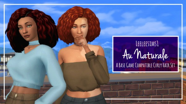Simsworkshop: Au Naturale Curly Hair Set retextured by leeleesims1 for Sims 4
