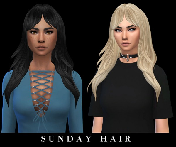 Leo 4 Sims: Sunday hair recolored for Sims 4