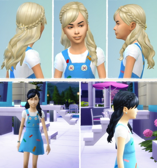 Birksches sims blog: Indian Braid hair for girls for Sims 4