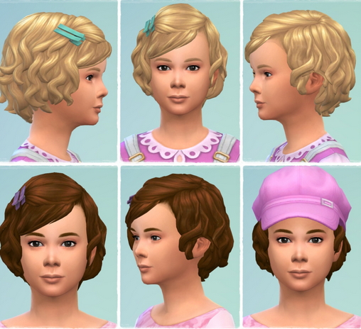Birksches sims blog: Girls Soft Curls hair for toddlers for Sims 4