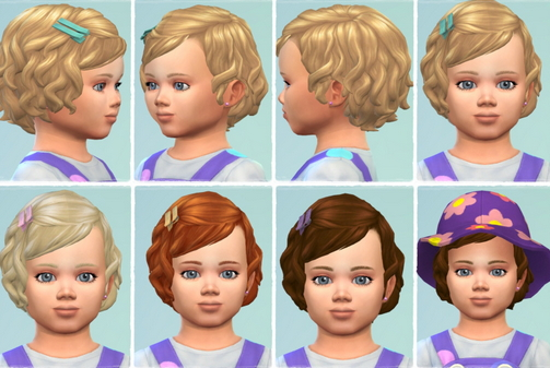 Birksches sims blog: Toddler Soft Curls hair with bangs for Sims 4