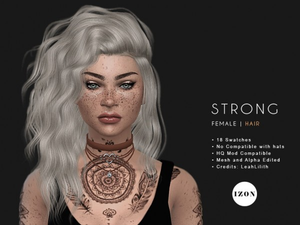 Phixil Sims: LeahLilith`s Strong hair retextured for Sims 4