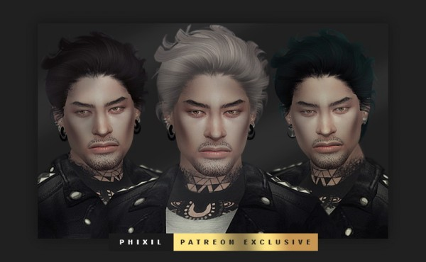 Phixil Sims: Newsea`s Pesadao hair retextured for Sims 4