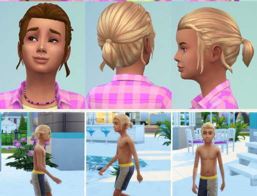 Birksches sims blog: Little Marvin's Small Ponytail hair for Sims 4