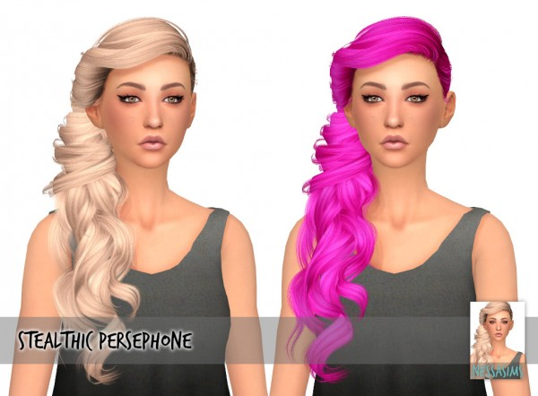Nessa sims: Stealthic`s Persephone hair retextured for Sims 4