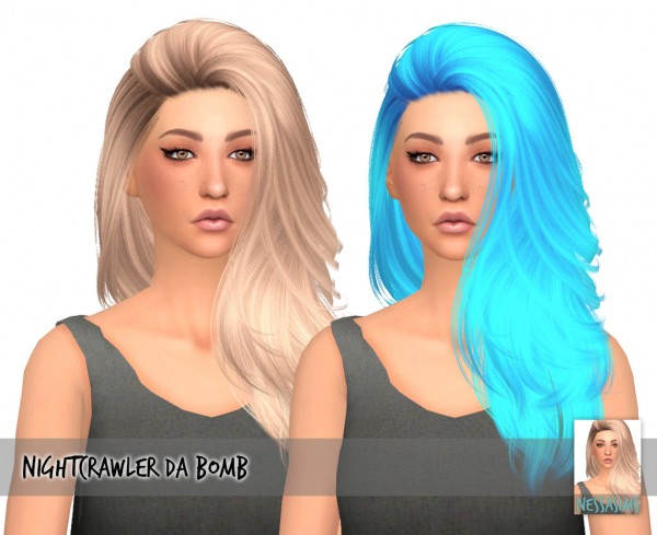 Nessa sims: Nightcrawler`s Da Bomb hair retextured for Sims 4