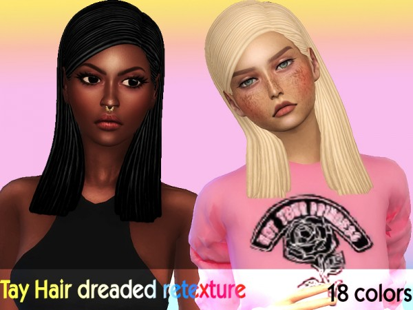 The Sims Resource: Tay Hair dreaded version hair by Sharareh for Sims 4