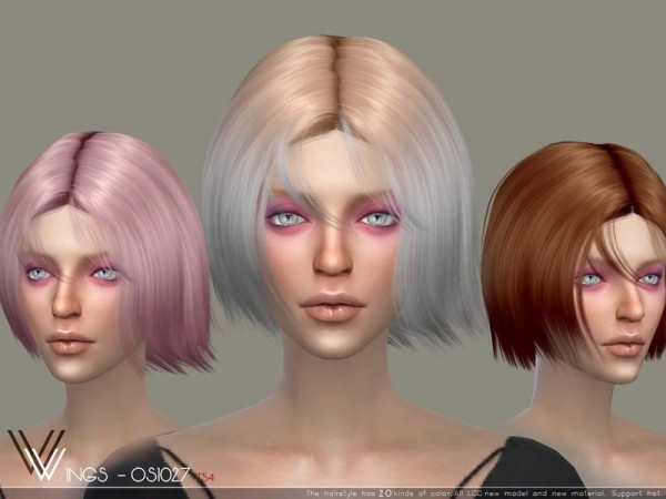 The Sims Resource: WINGS OS1027 hair for Sims 4