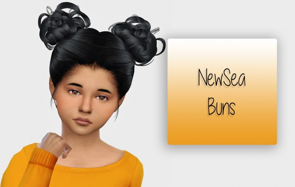 Simiracle: NewSea Buns hair retextired   Kids Version for Sims 4
