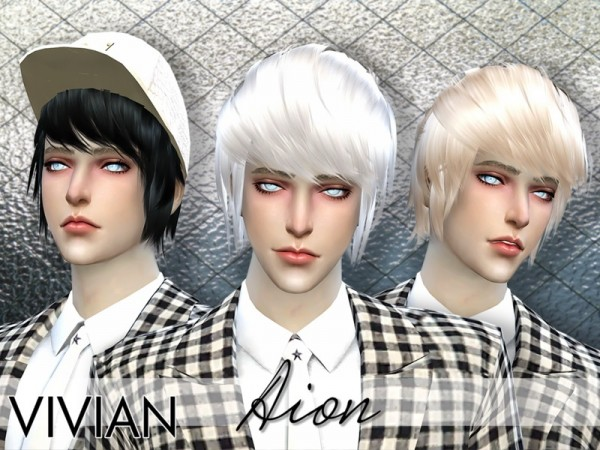 The Sims Resource: Aion Blue hair by VivianDang for Sims 4