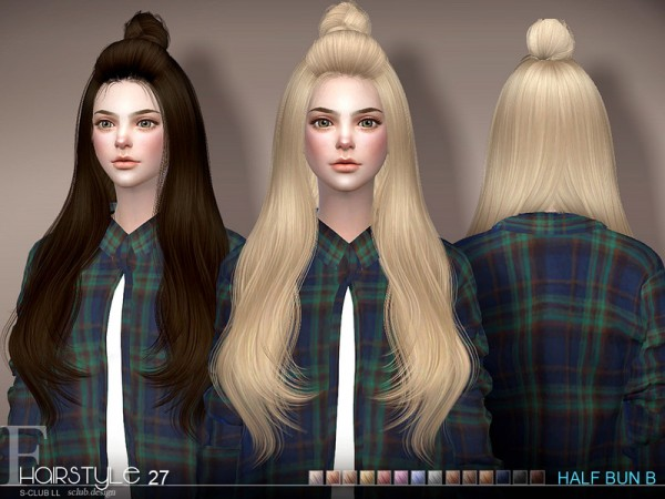 The Sims Resource: Hair Half Bun n27B by S Club for Sims 4
