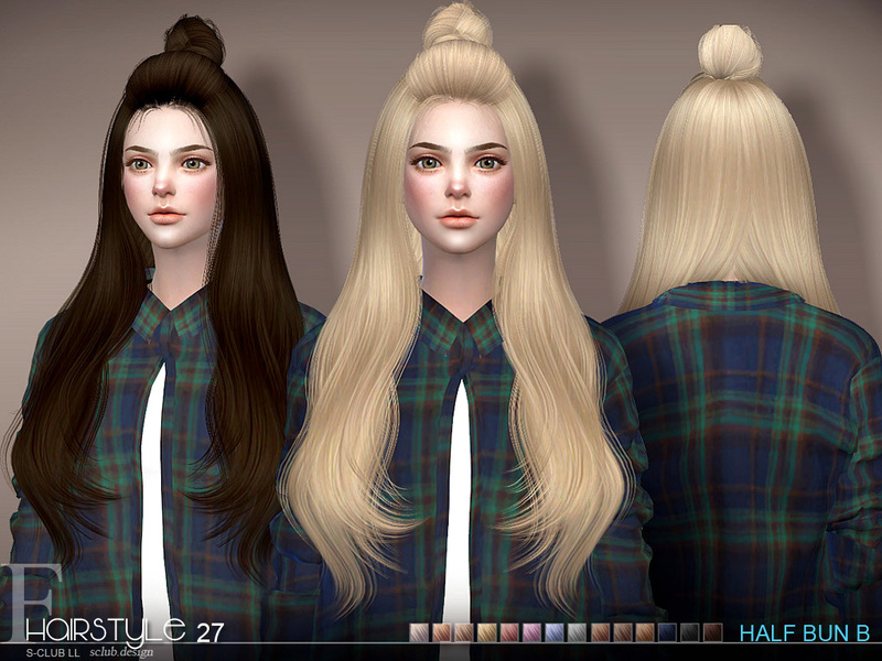 sims 4 hairs the sims resource hair half bun n27b by sclub