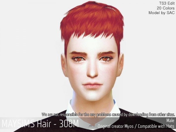 MAY Sims: MAY 308M hair retextured for Sims 4