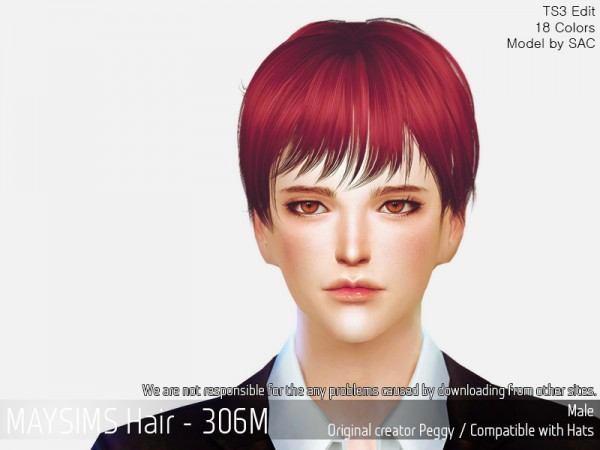MAY Sims: MAY 306M hair retextured for Sims 4