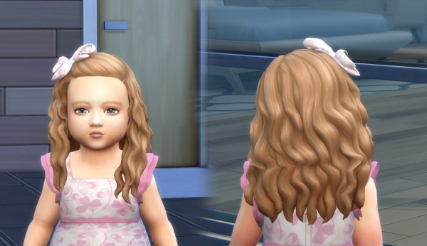 Mystufforigin: Long Curly Bow hair retextured for Sims 4