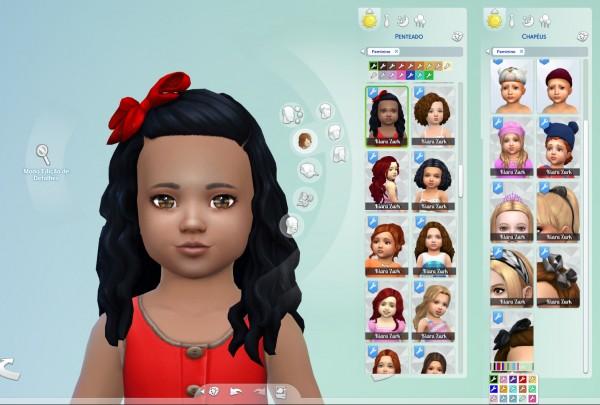Mystufforigin: Long Curly Bow hair retextured for Sims 4