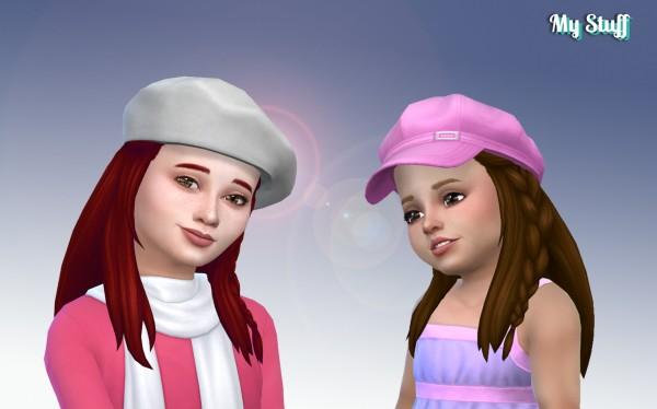 Mystufforigin: Long Braid Wavy hair retextured for Sims 4