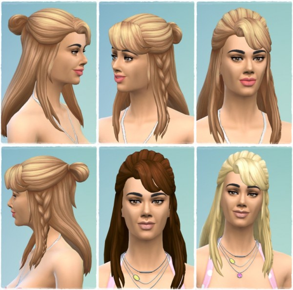 Birksches sims blog: Halfup Messy Knot hair retextured for her for Sims 4