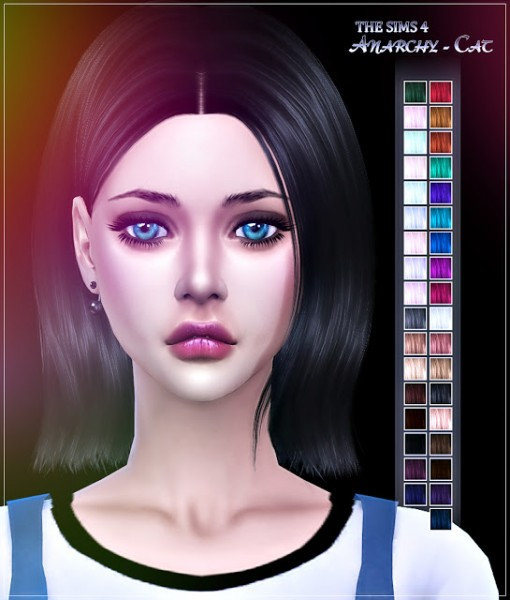Anarchy Cat: Ade Darma`s Jennifer hair recolored for Sims 4