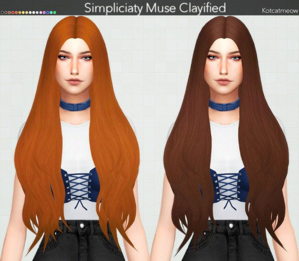 Kot Cat: Simpliciaty`s Muse Hair Clayified for Sims 4