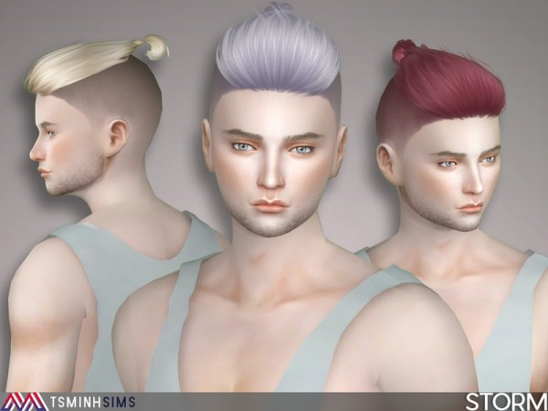 The Sims Resource: Storm Hair 45 byTsminhSims for Sims 4