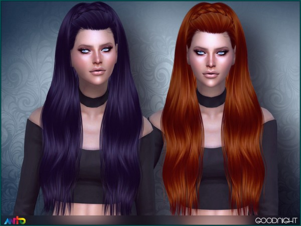 The Sims Resource: Goodnight Hair by Anto for Sims 4