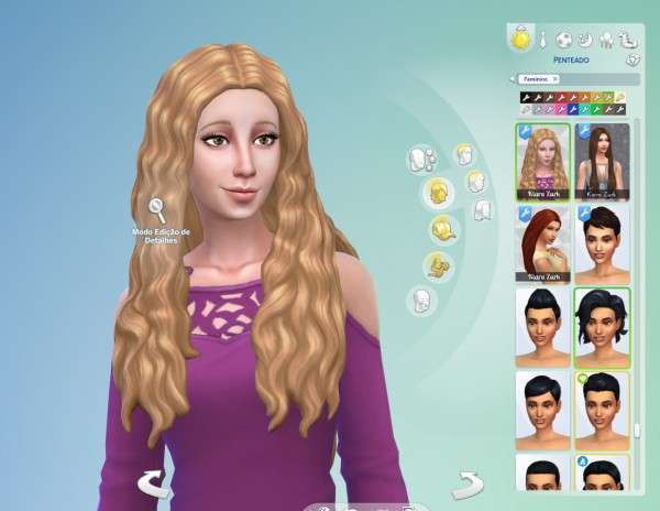 Mystufforigin: Wavy Middle Part hair retextured for Sims 4