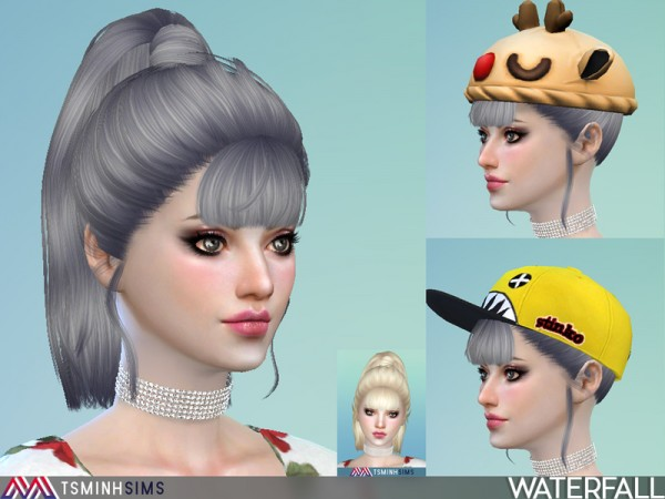The Sims Resource: Waterfall Hair 47 by Tsmnih Sims for Sims 4