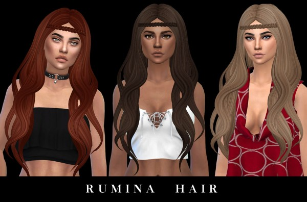 Leo 4 Sims: Rumina hair recolored for Sims 4