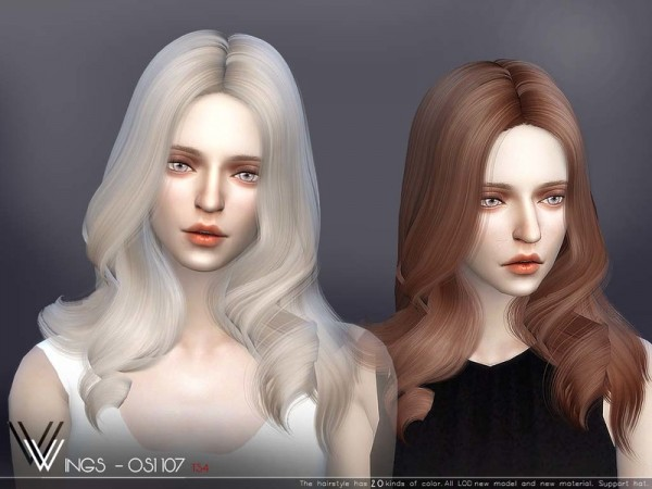 The Sims Resource: WINGS OS01107 hair for Sims 4
