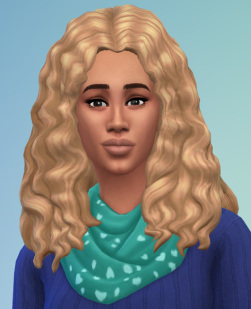 Birksches sims blog: Curly Long Middle Part Hair retextured for Sims 4