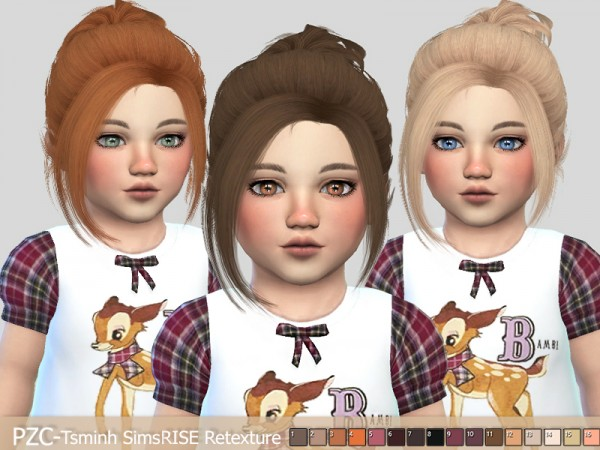 The Sims Resource: Tsminh`s   Rise Hair Retextured by Pinkzombiecupcakes for Sims 4