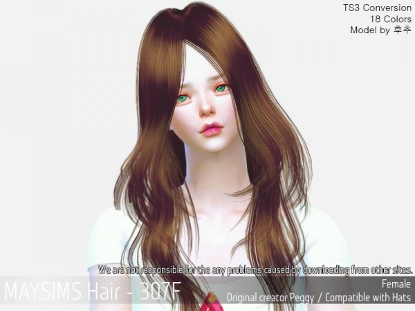 MAY Sims: MAY 307F hair retextured for Sims 4