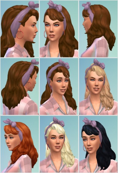 Birksches sims blog: Long Flipped Hair with Scarf for Sims 4