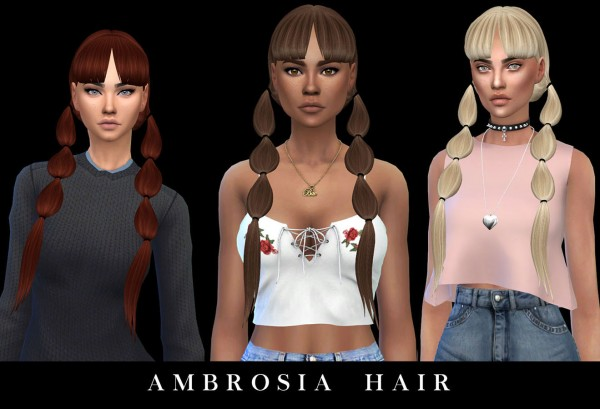 Leo 4 Sims: Ambrosia hair recolored for Sims 4