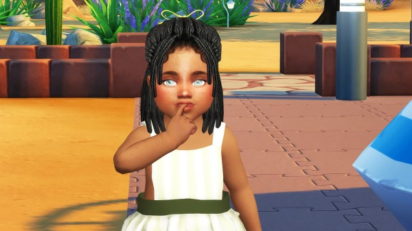 Coupure Electrique: Box braid pony hair converted for Sims 4