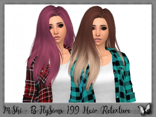 The Sims Resource: B FlySims 199 Hair Retextured by mikerashi for Sims 4